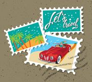 Lets travel hand drawn lettering. Illustration with the girl in the red car. Postage Stamp stock illustration