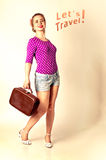 Lets travel with pin up girl Stock Photos
