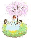 Cafe av körsbäret Blossom-3 Arkivfoton
