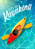 Lets va opinión superior kayaking del mar del agua del cartel del verano Kajak y paleta imagen de archivo libre de regalías