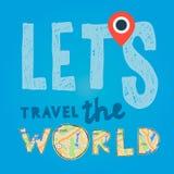 Lets vai curso o mundo Férias e conceito do turismo Imagem de Stock