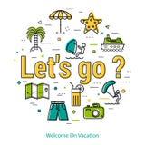 Lets vont vacation - ligne ronde concept Images libres de droits