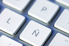 Letter ñ. On a keyboard, special character of the Spanish language Stock Photos