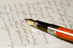 Letter. A nice fountain pen with a handwritten letter Royalty Free Stock Images