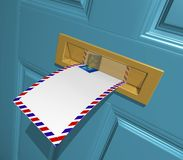 Letter. 3D Rendered blank letter in the letterbox Royalty Free Stock Images