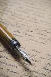 Letter. A detail of an old nib on a handwritten letter Stock Photography