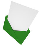 Letter. Green envelope with a letter. 3D rendered image Royalty Free Stock Images