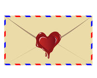 The letter with. The sealing wax press in the form of heart on a white background Royalty Free Stock Photo