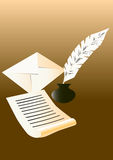 Letter. Paper,inkpot,feather and an envelope on the brown background Stock Photo