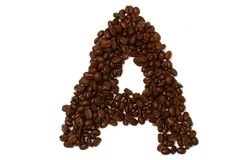 The letter A. The character A build with coffee beans Royalty Free Stock Photography
