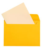 Letter. Blank piece of paper in a yellow envelope royalty free stock photography
