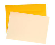 Letter. Blank piece of paper on a yellow envelope royalty free stock images