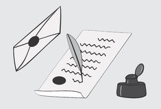 Letter writing with quill and parchment paper Royalty Free Stock Photos