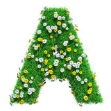 Letter A Of Green Grass And Flowers Royalty Free Stock Photo