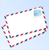 Letter airmail. Airmail letter with sky light blue gradient in background and a blank post stamp glued to letter Stock Photo