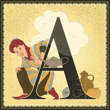 Letter A. Aladdin and the Wonderful Lamp Stock Photography