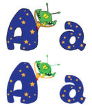 Letter A alien. Illustration of a letter A alien Stock Photos