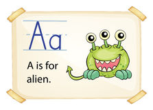 A letter A for alien. On a white background vector illustration