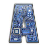 Letter A.  Alphabet in circuit board style. Digital hi-tech letter isolated on white stock photo