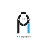 A-letter/alphabet icon and light bulb abstract logo design. Vector template.Corporate business and industrial logotype idea concept.Vector illustration Stock Image