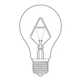 The letter A, in the alphabet Incandescent light bulb set. Outline style black and white color isolated on white background Stock Photo