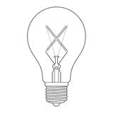 The letter X, in the alphabet Incandescent light bulb set. Outline style black and white color isolated on white background Royalty Free Stock Photos