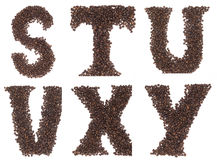 Letter of alphabet made of coffee beans Stock Images