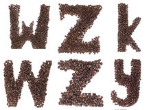Letter of alphabet made of coffee beans Royalty Free Stock Image