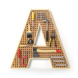 Letter A. Alphabet from the tools on the metal pegboard isolated Royalty Free Stock Images