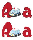 Letter A ambulance. Illustration of a letter A ambulance Stock Photos