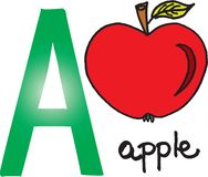 Letter A - apple Royalty Free Stock Images