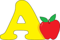 Letter A with an Apple Royalty Free Stock Images
