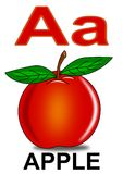 Letter A apple. Apple fruit nature alphabet red school vector illustration