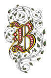 Letter B. There is a letter B with pattern Stock Photo