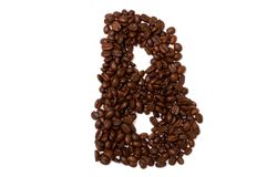 The letter B. The character B build with coffee beans Royalty Free Stock Photo