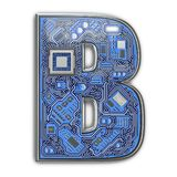 Letter B.  Alphabet in circuit board style. Digital hi-tech letter isolated on white stock images