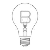 The letter B, in the alphabet Incandescent light bulb set. Outline style black and white color  on white background Stock Image