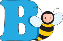 Letter B with a Bee Stock Photography