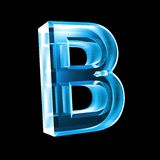 Letter B in blue glass 3D Stock Photo