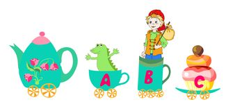 Letter A, B, C. Cute cartoon english alphabet with colorful image. Teapot and cups train. Royalty Free Stock Images