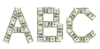 Letter A, B, C made of dollars Royalty Free Stock Images