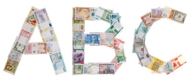 Letter A, B, C from money Royalty Free Stock Photography