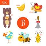 Letter B. Cartoon alphabet for children. Bear, bee, bell, bird, Stock Images