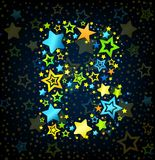 Letter B cartoon star colored Royalty Free Stock Image