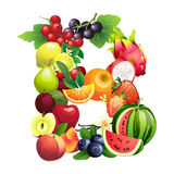 Letter B composed of different fruits with leaves Stock Photos
