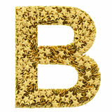 Letter B composed of golden stars isolated on white Royalty Free Stock Photography