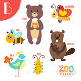 Letter B. Cute animals. Funny cartoon animals in vector.