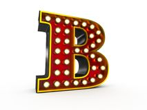 Letter B 3D Broadway Style. High quality 3D illustration of the letter B in Broadway style with light bulbs illuminating it over white background stock illustration