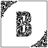 The letter B. Decorative Font with swirls and floral elements. Vintage style.  Stock Photo