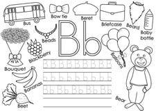 Letter B. English alphabet. Writing practice for children. stock illustration